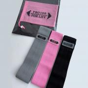 Тканевые резинки 3 в 1 Pro100 FORLIFE - для фитнеса, набор фитнес лент из 3 шт.