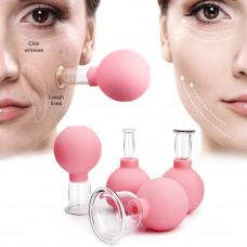 Вакуумные стеклянные банки для массажа лица и тела, от целлюлита набор 4 шт
