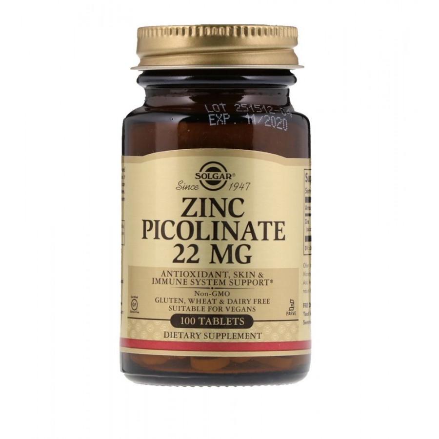 Цинк Solgar Zinc Picolinate 22 mg - 100 таблеток